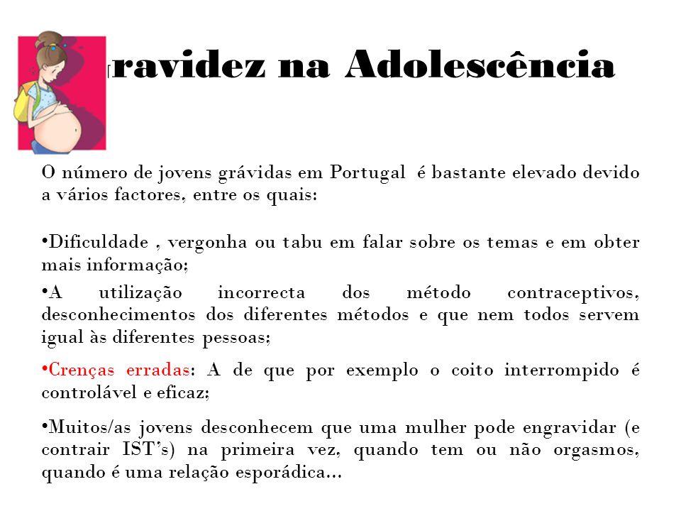 Gravidez na Adolescência O número de jovens grávidas em Portugal é bastante elevado devido a vários factores, entre os quais: Dificuldade, vergonha ou