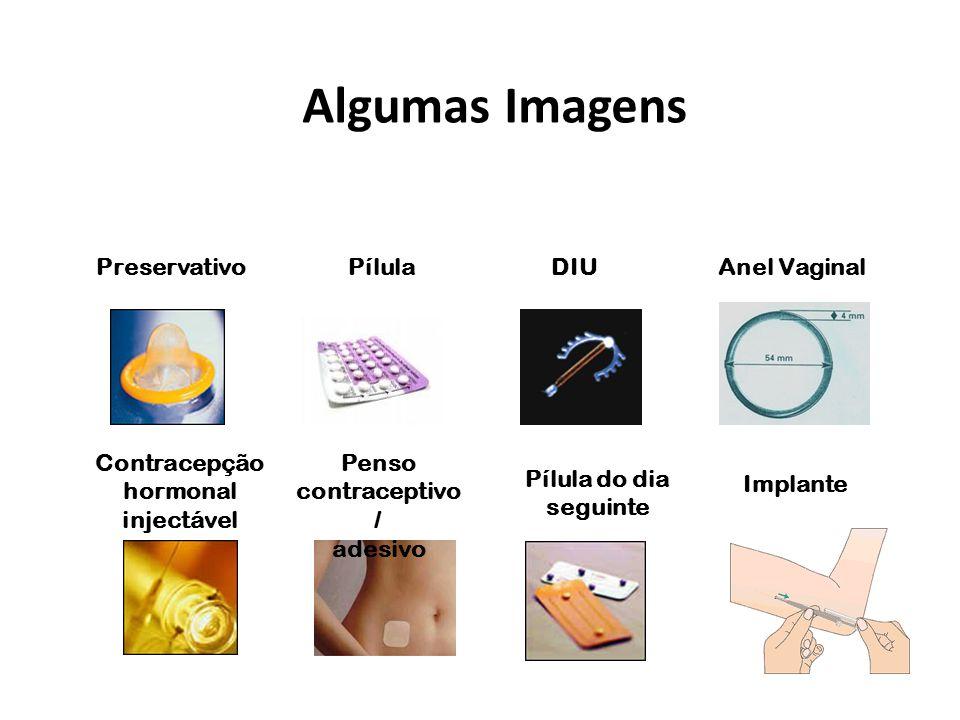 Algumas Imagens PreservativoPílula Contracepção hormonal injectável Penso contraceptivo / adesivo DIUAnel Vaginal Pílula do dia seguinte Implante