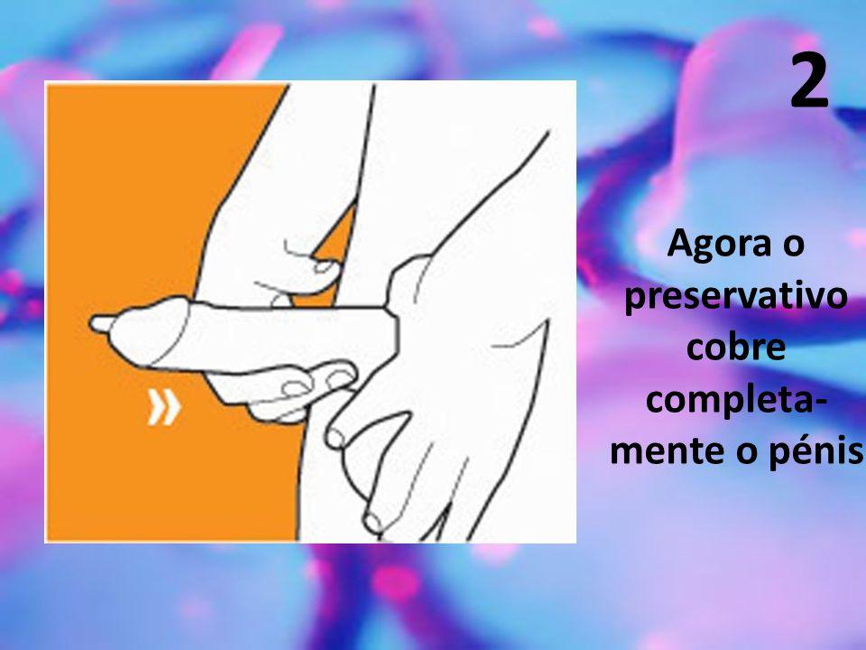 2 Agora o preservativo cobre completa- mente o pénis