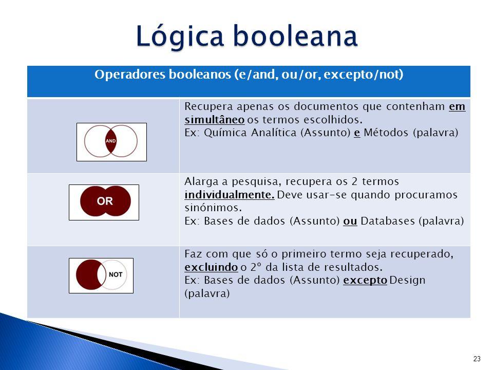 Operadores booleanos (e/and, ou/or, excepto/not) Recupera apenas os documentos que contenham em simultâneo os termos escolhidos.