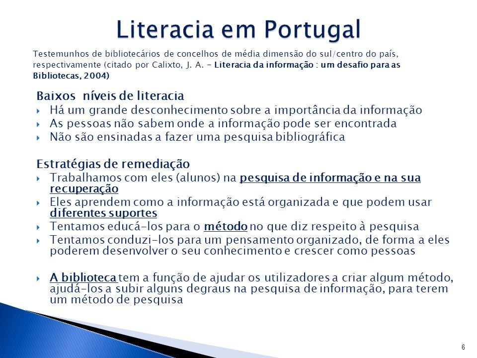 Testemunhos de bibliotecários de concelhos de média dimensão do sul/centro do país, respectivamente (citado por Calixto, J.