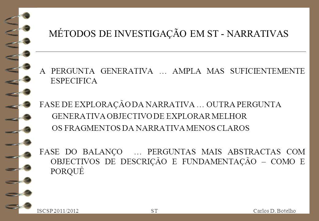 MÉTODOS DE INVESTIGAÇÃO EM ST - NARRATIVAS A PERGUNTA GENERATIVA … AMPLA MAS SUFICIENTEMENTE ESPECIFICA FASE DE EXPLORAÇÃO DA NARRATIVA … OUTRA PERGUNTA GENERATIVA OBJECTIVO DE EXPLORAR MELHOR OS FRAGMENTOS DA NARRATIVA MENOS CLAROS FASE DO BALANÇO … PERGUNTAS MAIS ABSTRACTAS COM OBJECTIVOS DE DESCRIÇÃO E FUNDAMENTAÇÃO – COMO E PORQUÊ ISCSP 2011/2012 ST Carlos D.