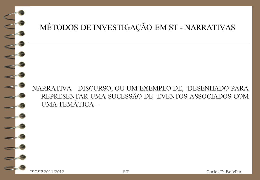 MÉTODOS DE INVESTIGAÇÃO EM ST - NARRATIVAS NARRATIVA - DISCURSO, OU UM EXEMPLO DE, DESENHADO PARA REPRESENTAR UMA SUCESSÃO DE EVENTOS ASSOCIADOS COM UMA TEMÁTICA – ISCSP 2011/2012 ST Carlos D.