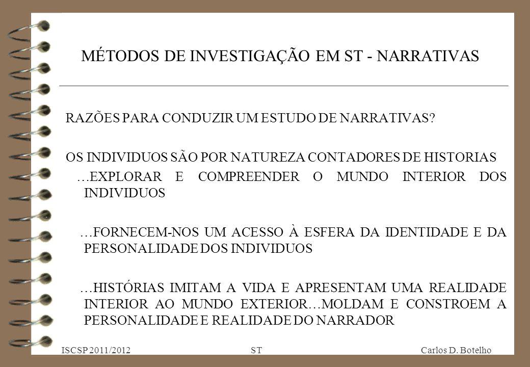 MÉTODOS DE INVESTIGAÇÃO EM ST - NARRATIVAS RAZÕES PARA CONDUZIR UM ESTUDO DE NARRATIVAS.