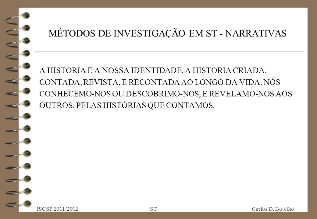 MÉTODOS DE INVESTIGAÇÃO EM ST - NARRATIVAS A HISTORIA É A NOSSA IDENTIDADE, A HISTORIA CRIADA, CONTADA, REVISTA, E RECONTADA AO LONGO DA VIDA.