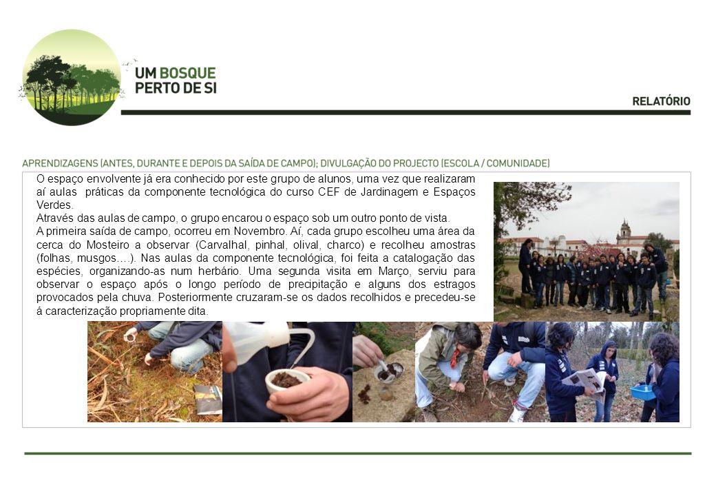 O espaço envolvente já era conhecido por este grupo de alunos, uma vez que realizaram aí aulas práticas da componente tecnológica do curso CEF de Jardinagem e Espaços Verdes.
