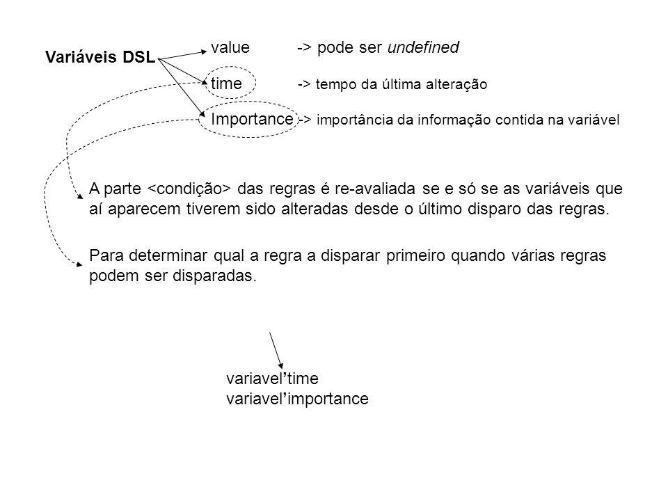 Variáveis DSL value -> pode ser undefined time -> tempo da última alteração Importance -> importância da informação contida na variável A parte das regras é re-avaliada se e só se as variáveis que aí aparecem tiverem sido alteradas desde o último disparo das regras.