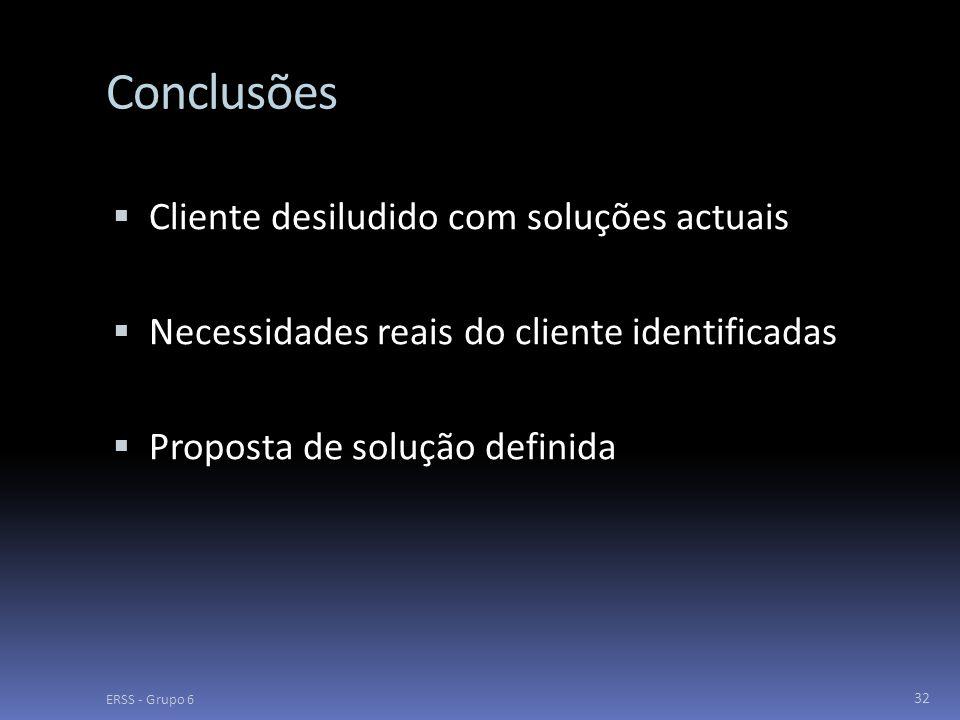 Conclusões  Cliente desiludido com soluções actuais  Necessidades reais do cliente identificadas  Proposta de solução definida ERSS - Grupo 6 32