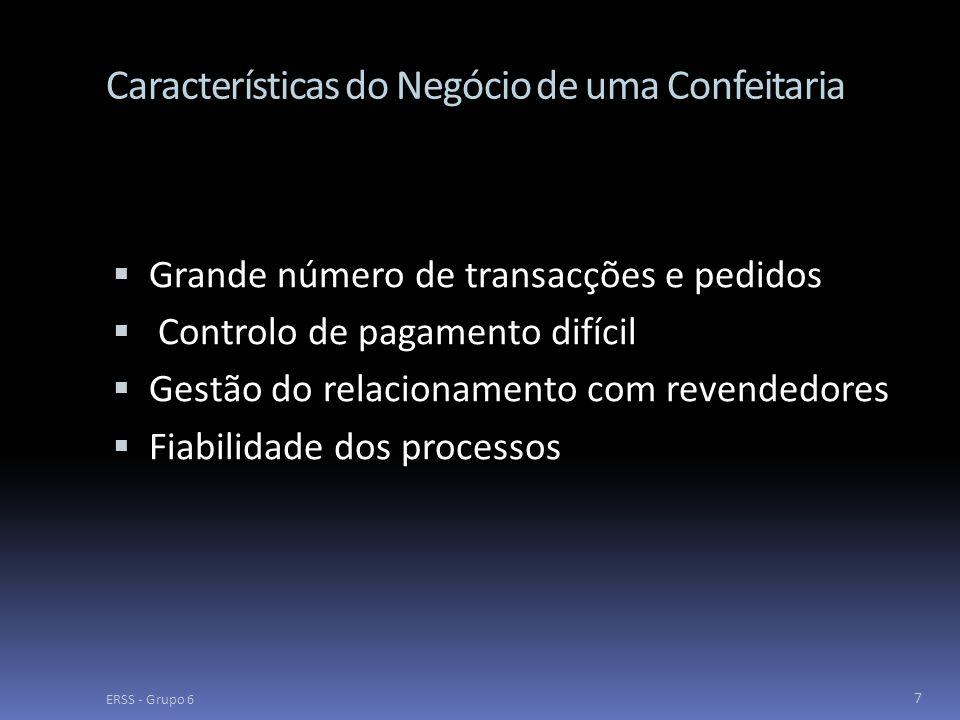 Características do Negócio de uma Confeitaria  Grande número de transacções e pedidos  Controlo de pagamento difícil  Gestão do relacionamento com revendedores  Fiabilidade dos processos ERSS - Grupo 6 7