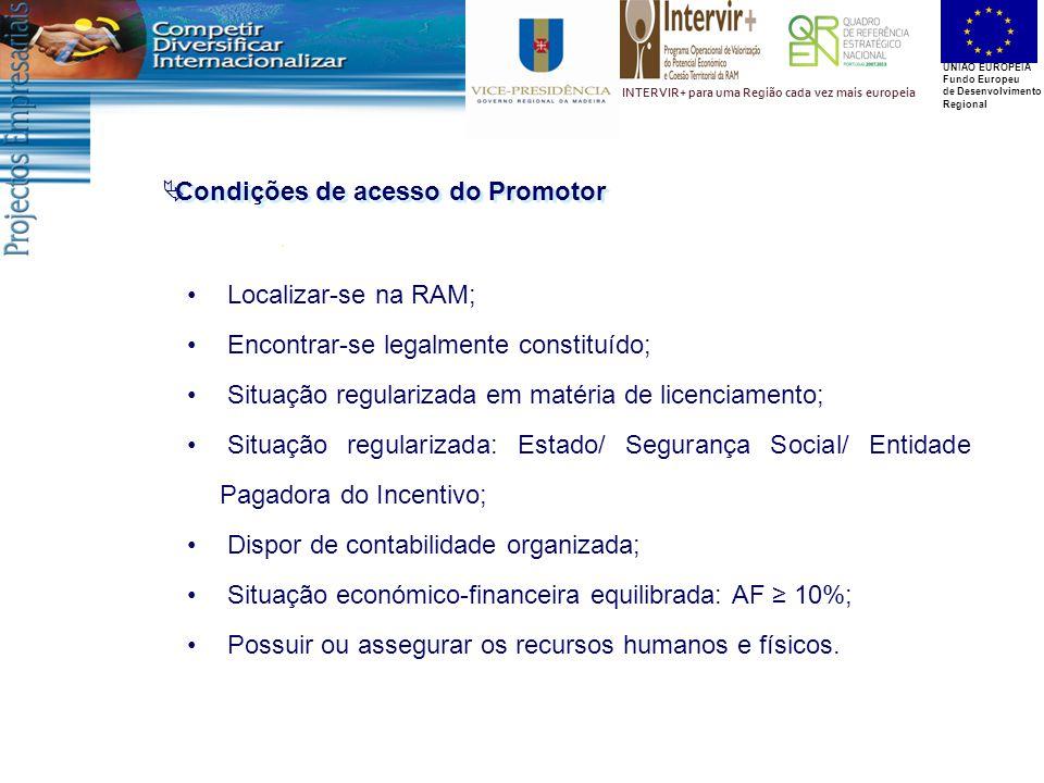 UNIÃO EUROPEIA Fundo Europeu de Desenvolvimento Regional INTERVIR+ para uma Região cada vez mais europeia  Condições de acesso do Promotor Localizar-