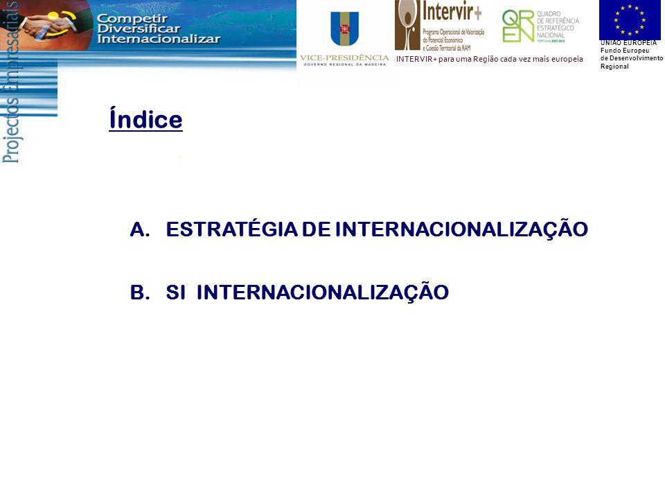UNIÃO EUROPEIA Fundo Europeu de Desenvolvimento Regional INTERVIR+ para uma Região cada vez mais europeia Índice A.ESTRATÉGIA DE INTERNACIONALIZAÇÃO B.SI INTERNACIONALIZAÇÃO