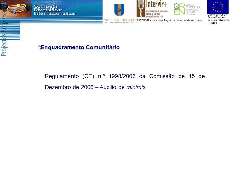 UNIÃO EUROPEIA Fundo Europeu de Desenvolvimento Regional INTERVIR+ para uma Região cada vez mais europeia  Enquadramento Comunitário Regulamento (CE) n.º 1998/2006 da Comissão de 15 de Dezembro de 2006 – Auxilio de minimis