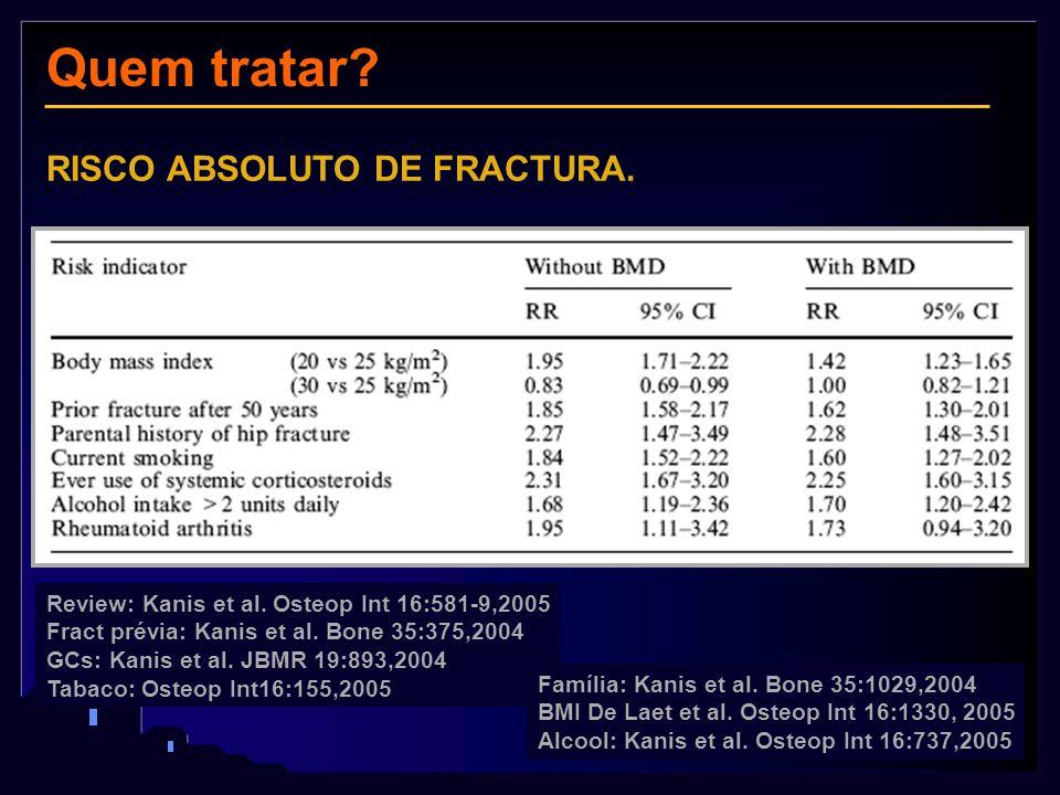 Historia familiar e fractura Review: Kanis et al. Osteop Int 16:581-9,2005 Fract prévia: Kanis et al. Bone 35:375,2004 GCs: Kanis et al. JBMR 19:893,2