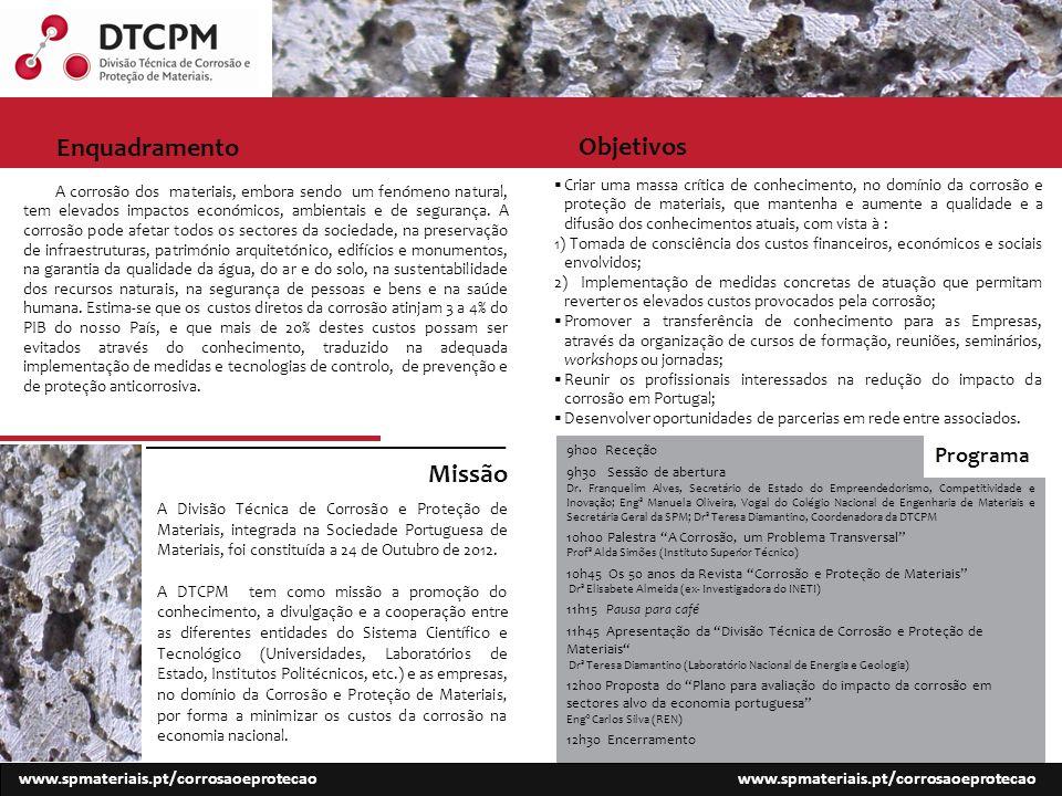 Objetivos www.spmateriais.pt/corrosaoeprotecao A corrosão dos materiais, embora sendo um fenómeno natural, tem elevados impactos económicos, ambientais e de segurança.