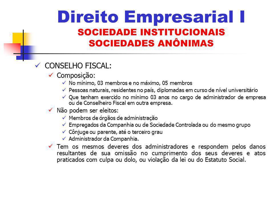 CONSELHO FISCAL: CONSELHO FISCAL: Composição: Composição: No mínimo, 03 membros e no máximo, 05 membros No mínimo, 03 membros e no máximo, 05 membros