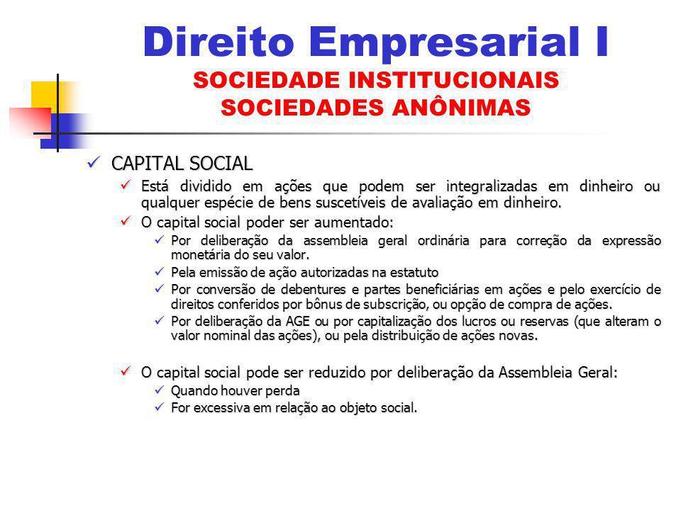 CAPITAL SOCIAL CAPITAL SOCIAL Está dividido em ações que podem ser integralizadas em dinheiro ou qualquer espécie de bens suscetíveis de avaliação em dinheiro.