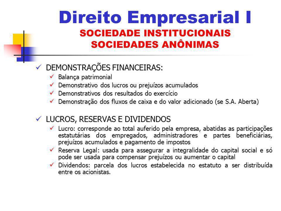 DEMONSTRAÇÕES FINANCEIRAS: DEMONSTRAÇÕES FINANCEIRAS: Balança patrimonial Balança patrimonial Demonstrativo dos lucros ou prejuízos acumulados Demonst
