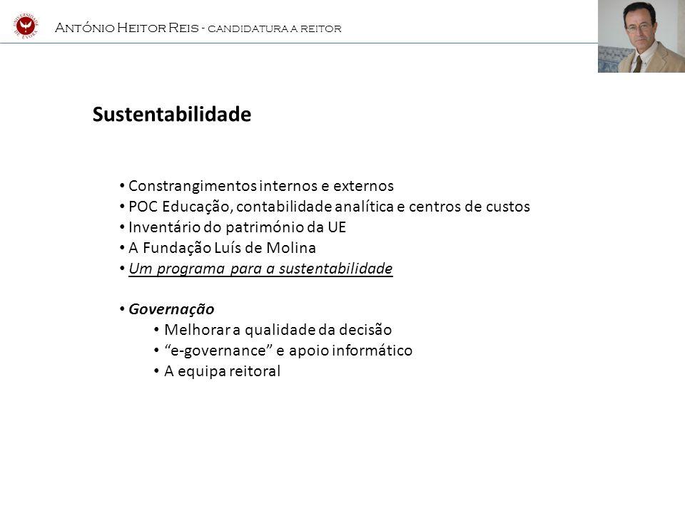António Heitor Reis - CANDIDATURA A REITOR Celebração de um Contrato-Programa com o MCTES com um horizonte temporal mínimo de 3 anos, que estabeleça um quadro de financiamento plurianual estável, em que possamos assumir compromissos e objectivos claros a atingir.