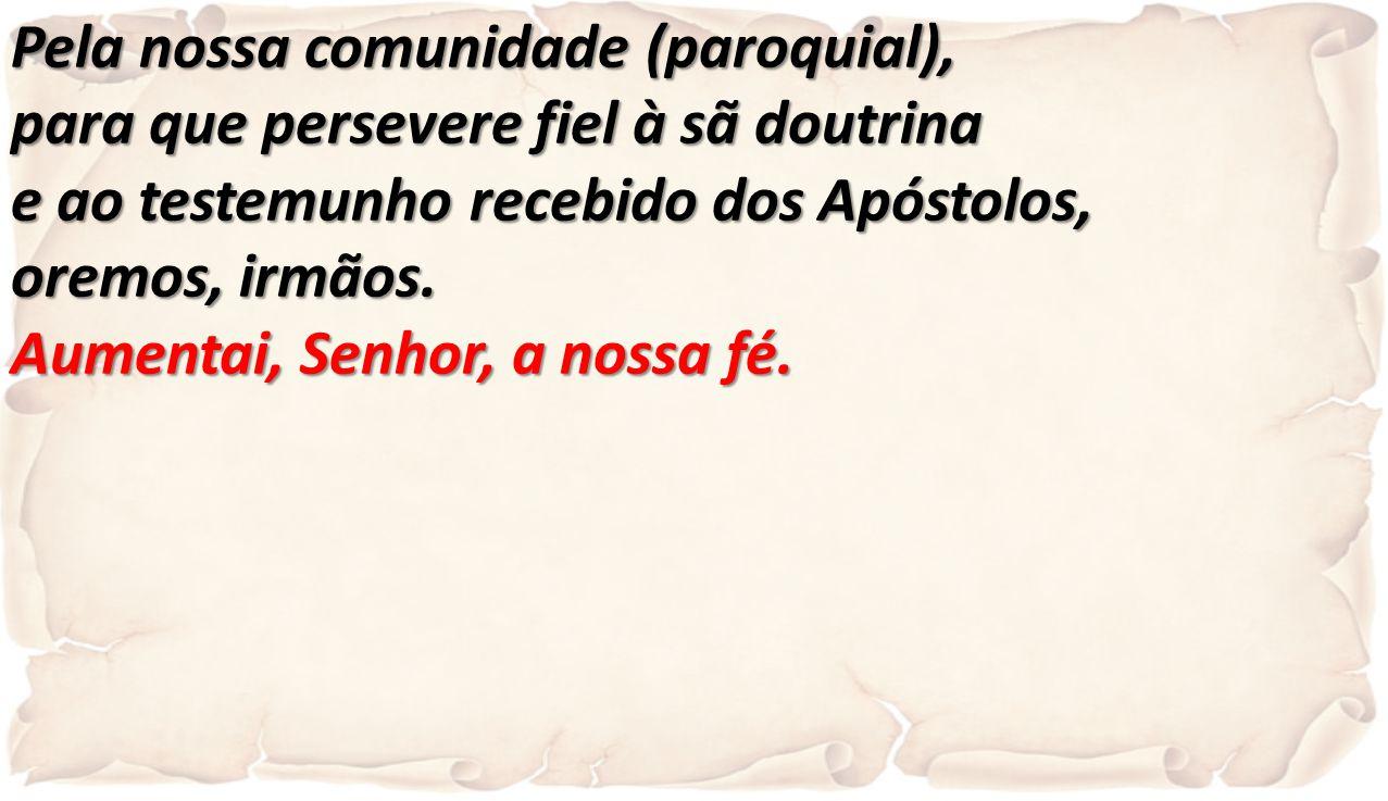 Pela nossa comunidade (paroquial), para que persevere fiel à sã doutrina e ao testemunho recebido dos Apóstolos, oremos, irmãos. Aumentai, Senhor, a n