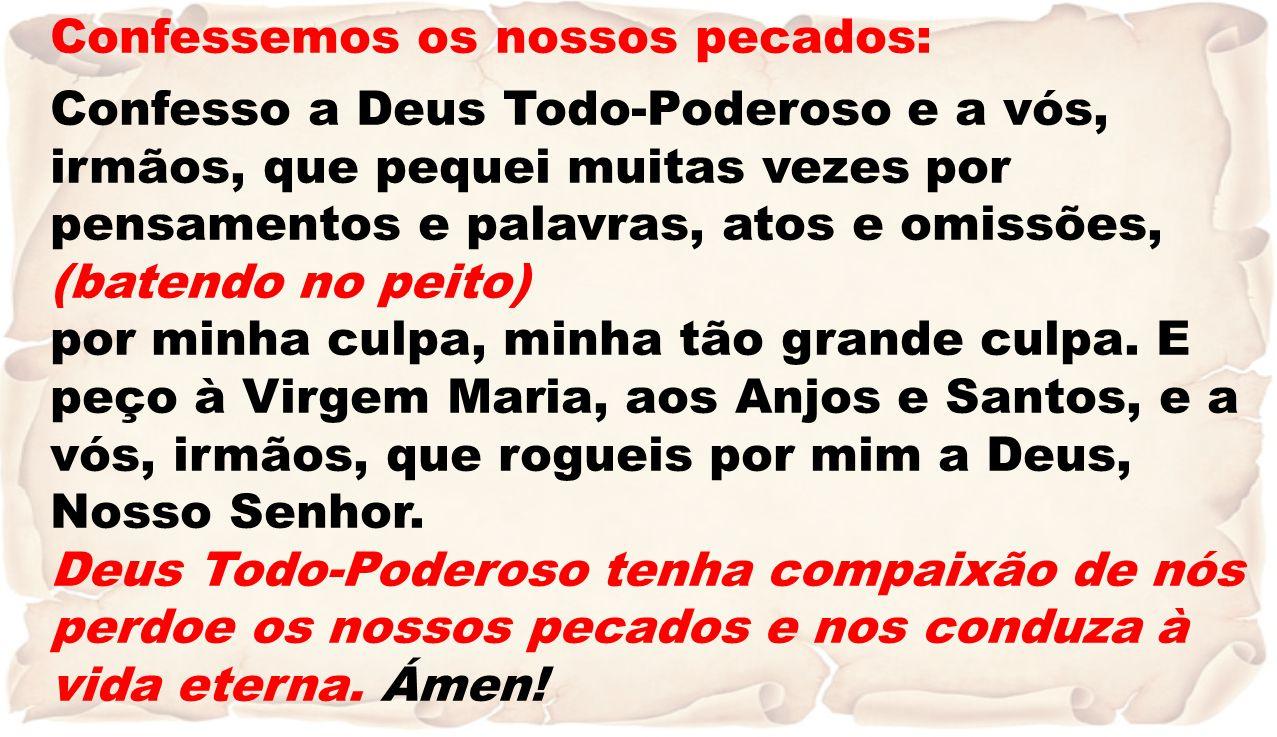Confessemos os nossos pecados: Confesso a Deus Todo-Poderoso e a vós, irmãos, que pequei muitas vezes por pensamentos e palavras, atos e omissões, (ba