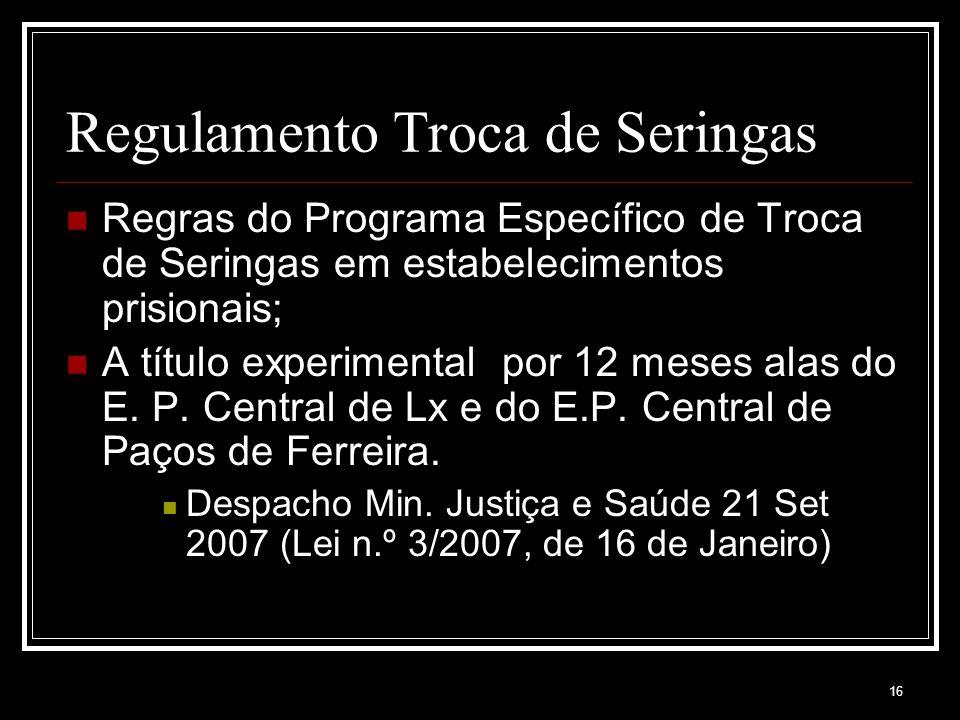 16 Regulamento Troca de Seringas Regras do Programa Específico de Troca de Seringas em estabelecimentos prisionais; A título experimental por 12 meses alas do E.