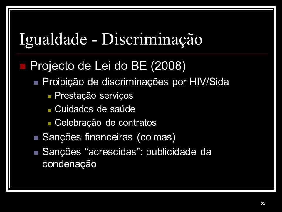 25 Igualdade - Discriminação Projecto de Lei do BE (2008) Proibição de discriminações por HIV/Sida Prestação serviços Cuidados de saúde Celebração de contratos Sanções financeiras (coimas) Sanções acrescidas : publicidade da condenação
