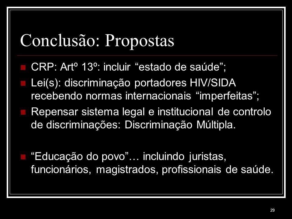 29 Conclusão: Propostas CRP: Artº 13º: incluir estado de saúde ; Lei(s): discriminação portadores HIV/SIDA recebendo normas internacionais imperfeitas ; Repensar sistema legal e institucional de controlo de discriminações: Discriminação Múltipla.