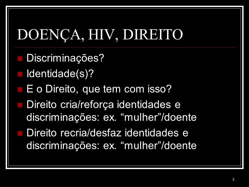 3 DOENÇA, HIV, DIREITO Discriminações. Identidade(s).