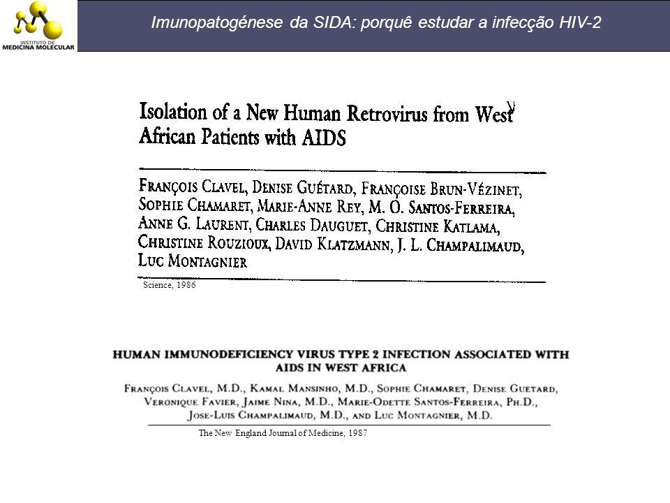Science, 1986 The New England Journal of Medicine, 1987 Imunopatogénese da SIDA: porquê estudar a infecção HIV-2
