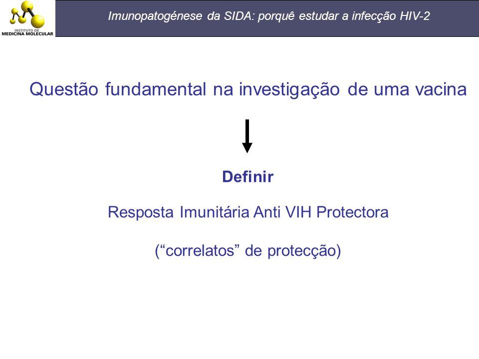 Imunopatogénese da SIDA: porquê estudar a infecção HIV-2 Questão fundamental na investigação de uma vacina Definir Resposta Imunitária Anti VIH Protec