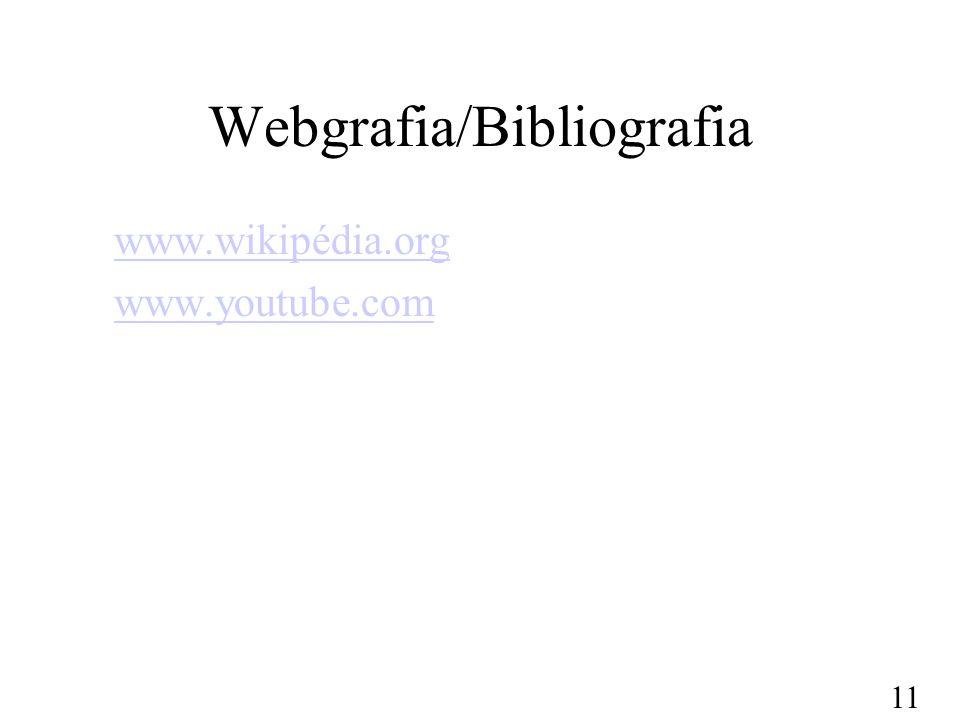 Webgrafia/Bibliografia www.wikipédia.org www.youtube.com 11