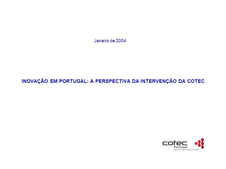 INOVAÇÃO EM PORTUGAL: A PERSPECTIVA DA INTERVENÇÃO DA COTEC Janeiro de 2004