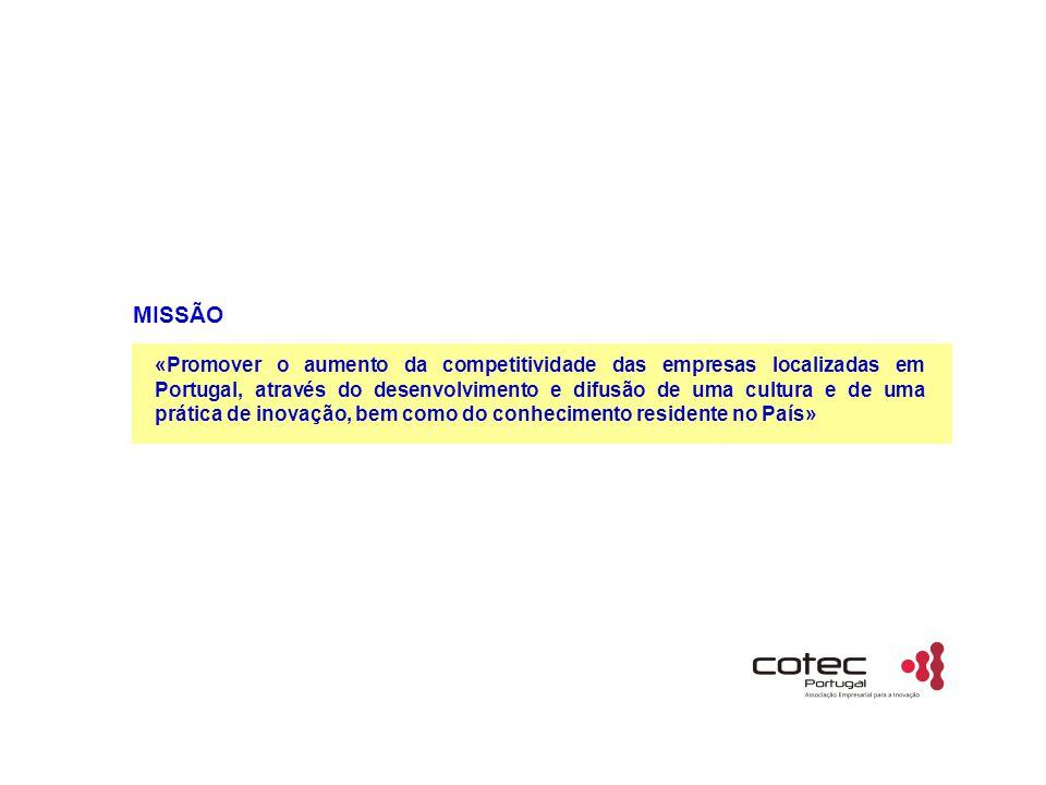 MISSÃO «Promover o aumento da competitividade das empresas localizadas em Portugal, através do desenvolvimento e difusão de uma cultura e de uma prática de inovação, bem como do conhecimento residente no País»