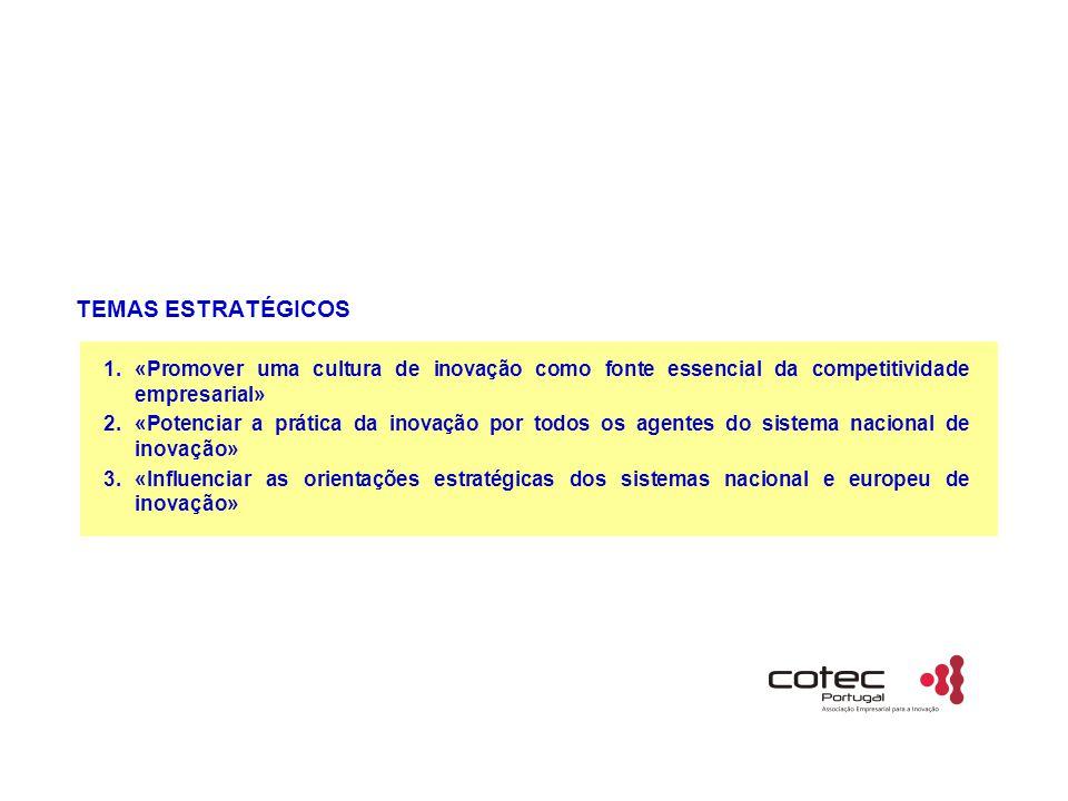 TEMAS ESTRATÉGICOS 1.«Promover uma cultura de inovação como fonte essencial da competitividade empresarial» 2.«Potenciar a prática da inovação por todos os agentes do sistema nacional de inovação» 3.«Influenciar as orientações estratégicas dos sistemas nacional e europeu de inovação»