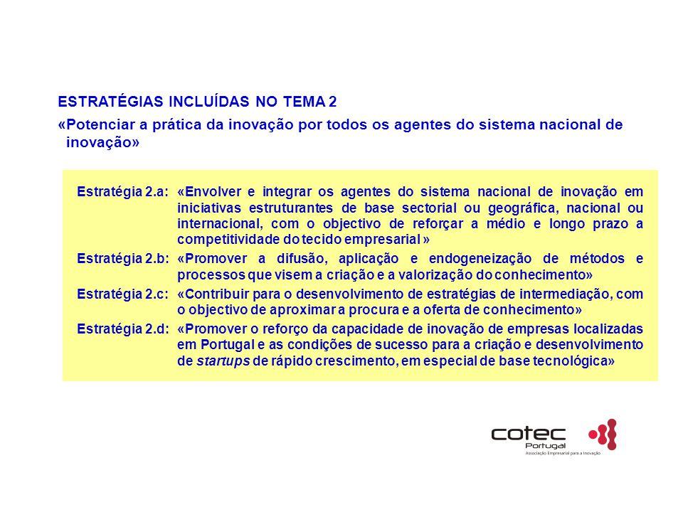 ESTRATÉGIAS INCLUÍDAS NO TEMA 2 «Potenciar a prática da inovação por todos os agentes do sistema nacional de inovação» Estratégia 2.a:«Envolver e inte