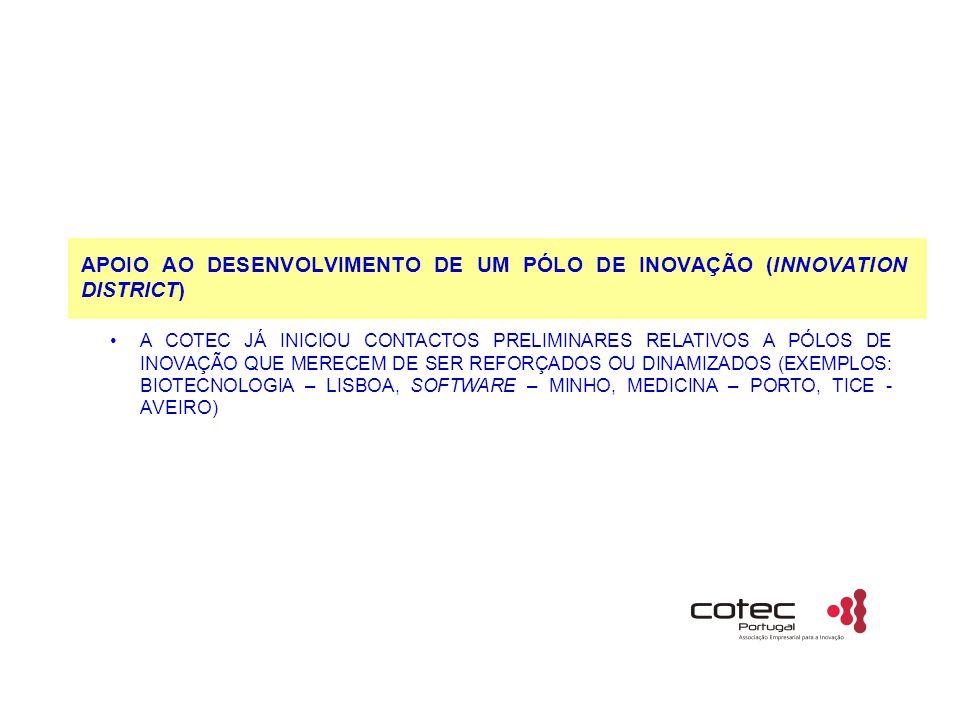 APOIO AO DESENVOLVIMENTO DE UM PÓLO DE INOVAÇÃO (INNOVATION DISTRICT) A COTEC JÁ INICIOU CONTACTOS PRELIMINARES RELATIVOS A PÓLOS DE INOVAÇÃO QUE MERECEM DE SER REFORÇADOS OU DINAMIZADOS (EXEMPLOS: BIOTECNOLOGIA – LISBOA, SOFTWARE – MINHO, MEDICINA – PORTO, TICE - AVEIRO)