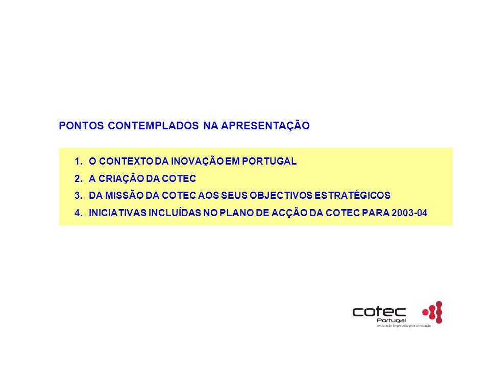 1.O CONTEXTO DA INOVAÇÃO EM PORTUGAL 2.A CRIAÇÃO DA COTEC 3.DA MISSÃO DA COTEC AOS SEUS OBJECTIVOS ESTRATÉGICOS 4.INICIATIVAS INCLUÍDAS NO PLANO DE ACÇÃO DA COTEC PARA 2003-04 PONTOS CONTEMPLADOS NA APRESENTAÇÃO