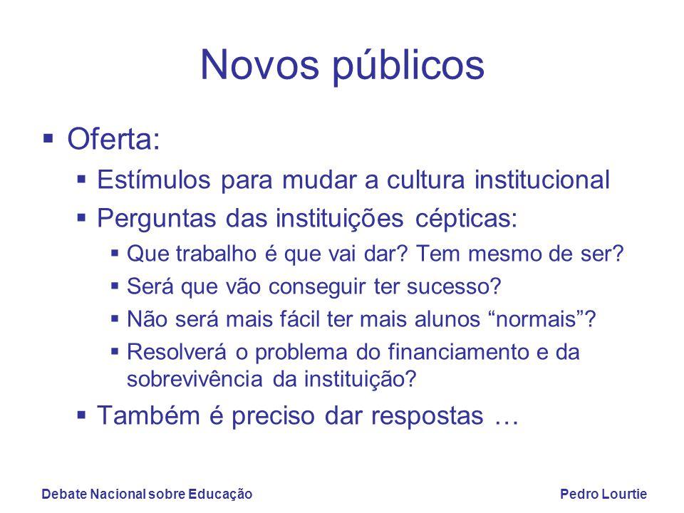 Debate Nacional sobre EducaçãoPedro Lourtie Novos públicos  Oferta:  Estímulos para mudar a cultura institucional  Perguntas das instituições cépticas:  Que trabalho é que vai dar.