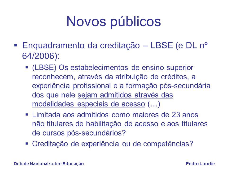 Debate Nacional sobre EducaçãoPedro Lourtie Novos públicos  Enquadramento da creditação – LBSE (e DL nº 64/2006):  (LBSE) Os estabelecimentos de ens