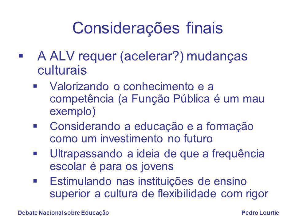 Debate Nacional sobre EducaçãoPedro Lourtie Considerações finais  A ALV requer (acelerar?) mudanças culturais  Valorizando o conhecimento e a compet