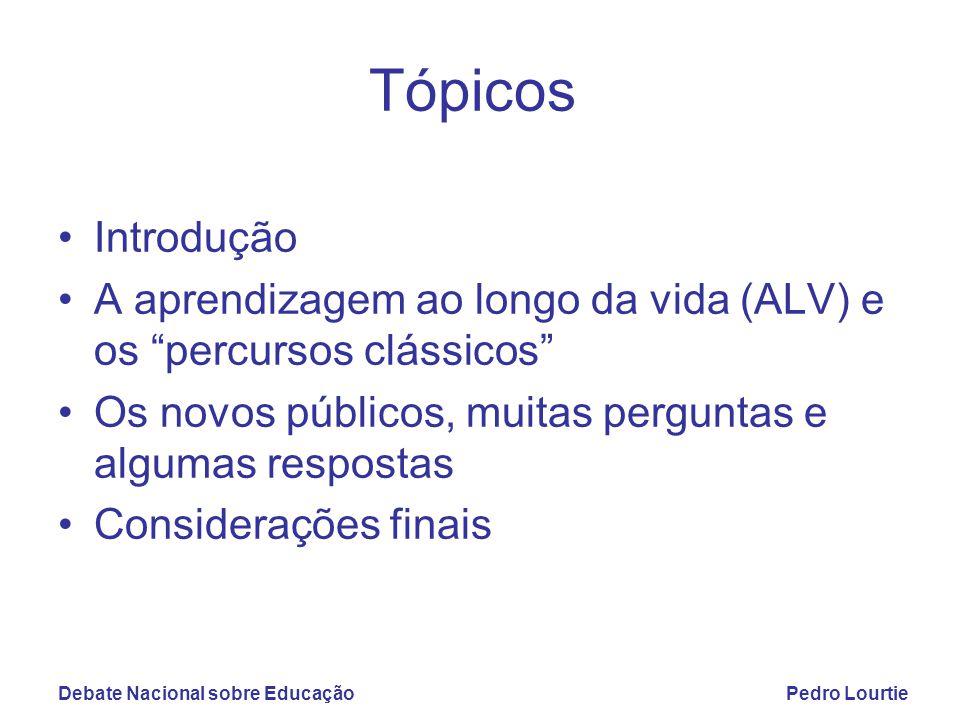 """Debate Nacional sobre EducaçãoPedro Lourtie Tópicos Introdução A aprendizagem ao longo da vida (ALV) e os """"percursos clássicos"""" Os novos públicos, mui"""