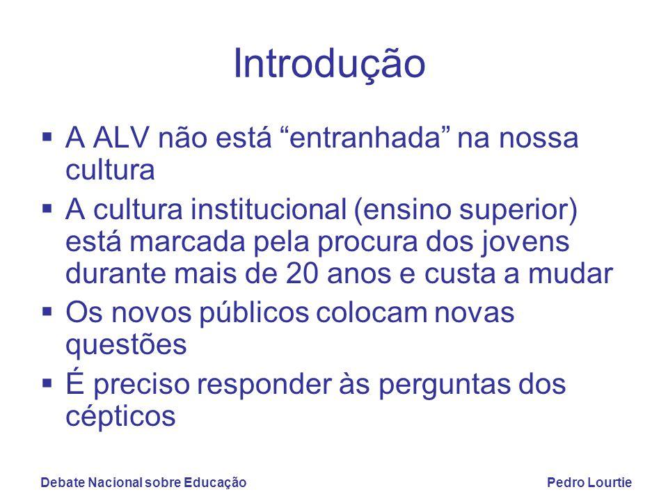 """Debate Nacional sobre EducaçãoPedro Lourtie Introdução  A ALV não está """"entranhada"""" na nossa cultura  A cultura institucional (ensino superior) está"""
