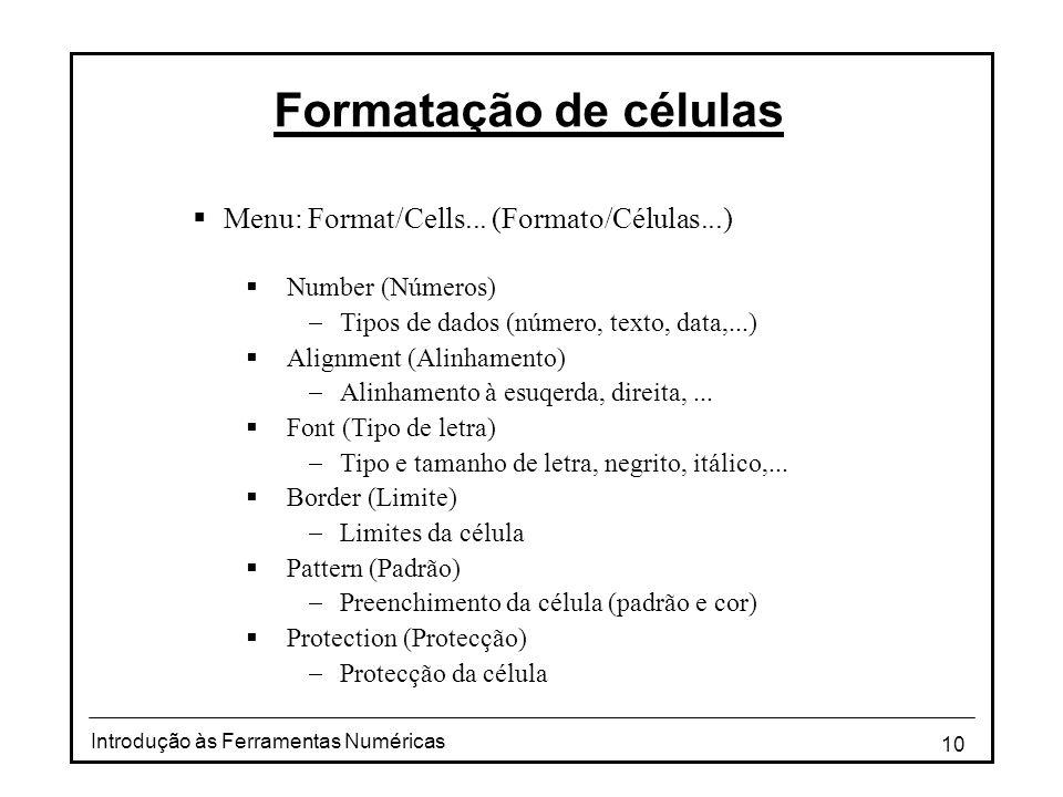 10 Introdução às Ferramentas Numéricas Formatação de células  Menu: Format/Cells...
