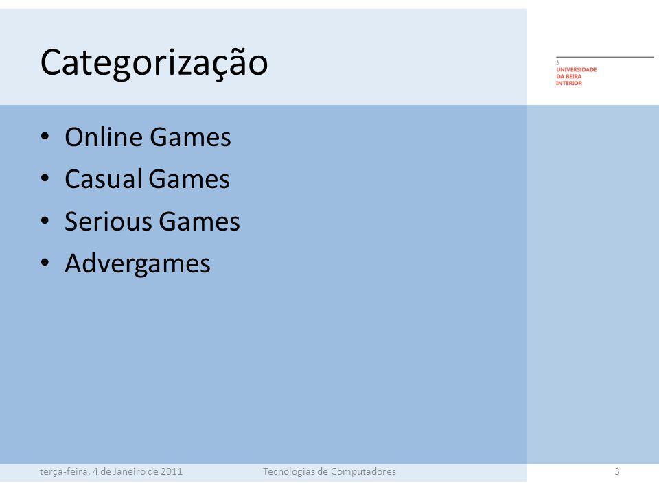 Categorização Online Games Casual Games Serious Games Advergames terça-feira, 4 de Janeiro de 2011Tecnologias de Computadores3