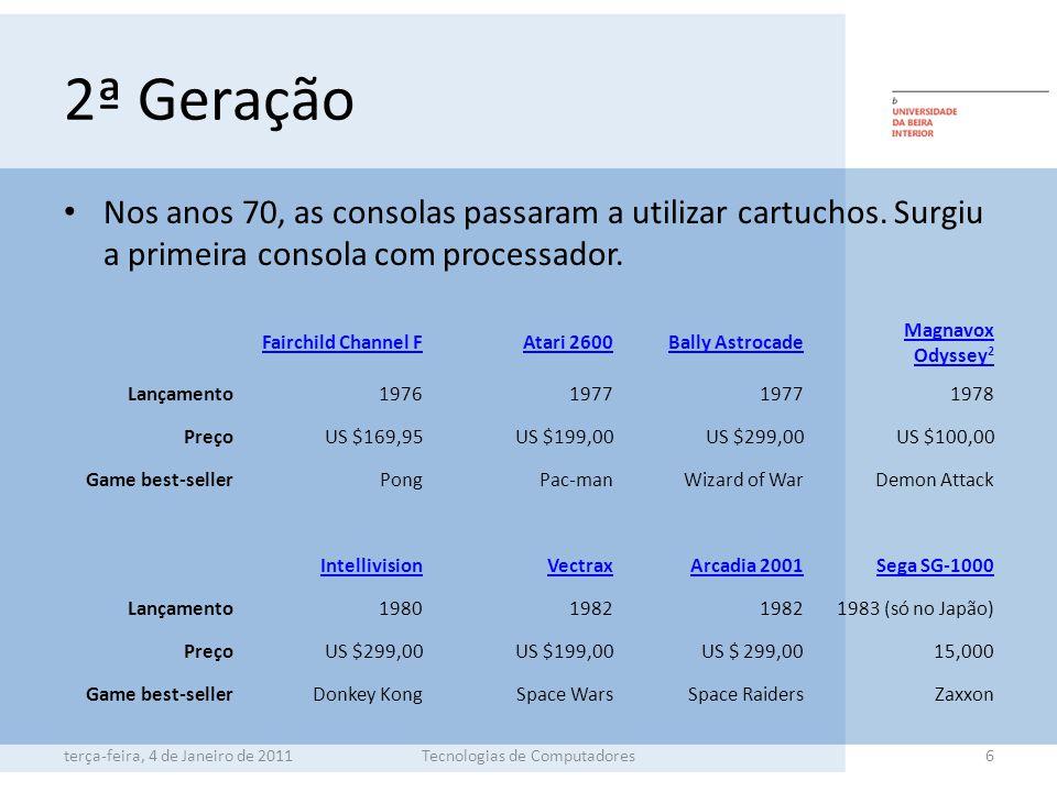 2ª Geração Nos anos 70, as consolas passaram a utilizar cartuchos.
