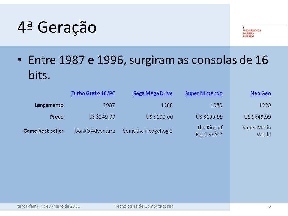 4ª Geração Entre 1987 e 1996, surgiram as consolas de 16 bits.