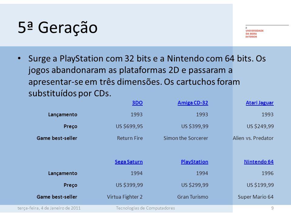 5ª Geração Surge a PlayStation com 32 bits e a Nintendo com 64 bits.