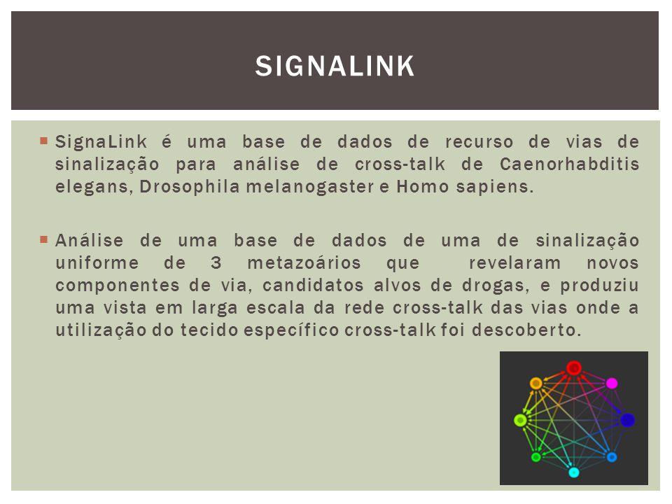  SignaLink é uma base de dados de recurso de vias de sinalização para análise de cross-talk de Caenorhabditis elegans, Drosophila melanogaster e Homo