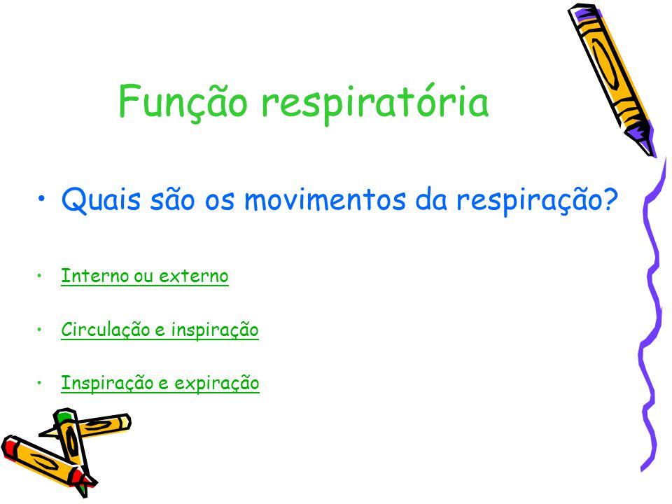 Função respiratória Quais são os movimentos da respiração.