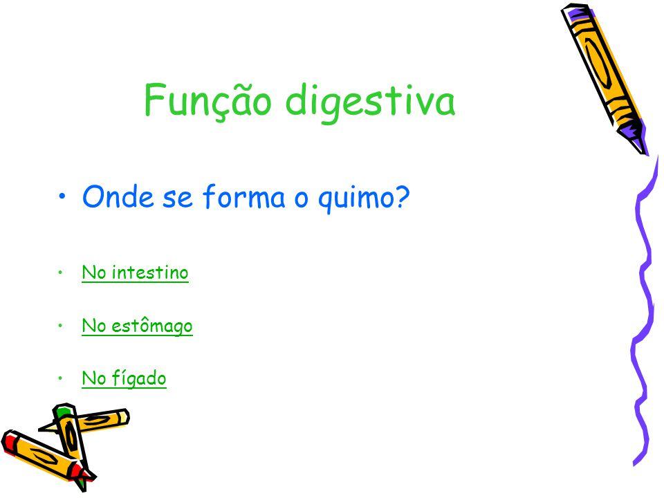 Função digestiva Onde se forma o quimo? No intestino No estômago No fígado